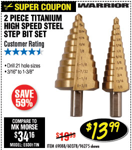 Titanium Coated High Speed Steel Step Bit Set 2 Pc
