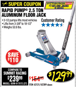 2.5 Ton Aluminum Racing Floor Jack with RapidPump