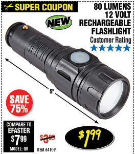 80 Lumen 12V Rechargeable Mini Flashlight