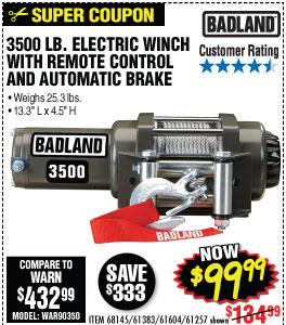 3500 Lbs. ATV/Utility Winch