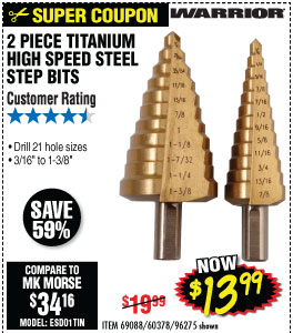 Titanium Coated High Speed Steel Step Bit Set 2 Pc