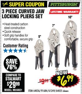 3 Pc Curved Jaw Locking Pliers Set