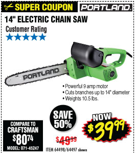 9 Amp 14 in. Electric Chainsaw