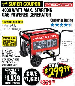 4000 Watt Max Starting Gas Powered Generator - EPA III