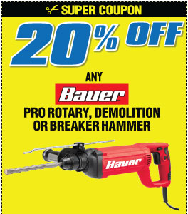 20% off Bauer Rotary  Demo Breaker Hammer