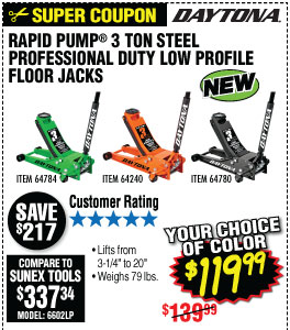 3 ton Low Profile Steel Professional Floor Jack with Rapid Pump