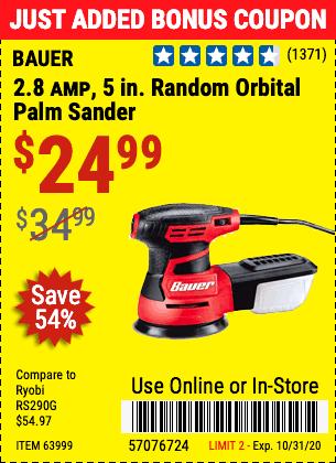 2.8 Amp, 5 in. Random Orbital Palm Sander