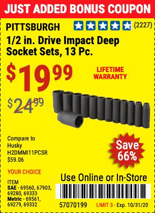 1/2 in. Drive Metric Impact Deep Socket Set, 13 Pc.