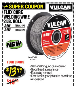 0.030 in. E71T-GS Flux Core Welding Wire, 2 lb. Roll