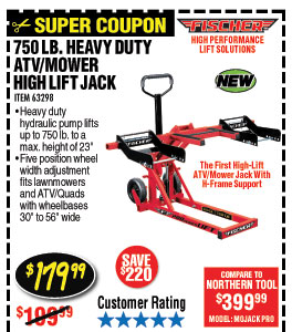 750 lb. Heavy Duty ATV/Mower High Lift Jack