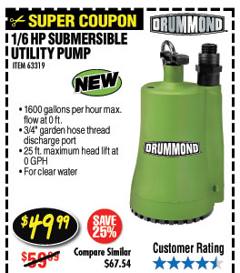 1/6 HP Submersible Utility Pump 1600 GPH