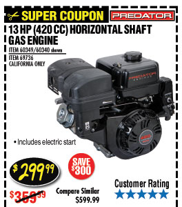 13 HP (420cc) OHV Horizontal Shaft Gas Engine EPA