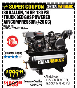30 gal. 420cc Truck Bed Air Compressor EPA III