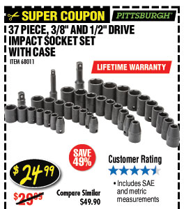 37 Pc 3/8 in., 1/2 in. Drive SAE & Metric Impact Socket Set