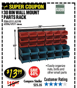 30 BIN WALL MOUNT PARTS RACK