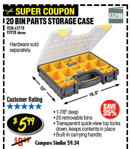 20 Bin Medium Portable Parts Storage Case