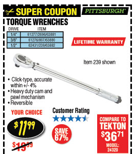 1/2 in. Drive Click Type Torque Wrench