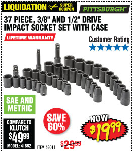 37 Pc 3/8 in., 1/2 in. Drive SAE & Metric Impact Socket Set