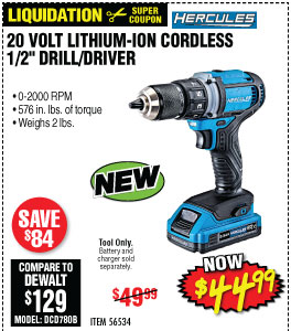20V Lithium Cordless 1/2 In. Compact Drill/Driver - Tool Only