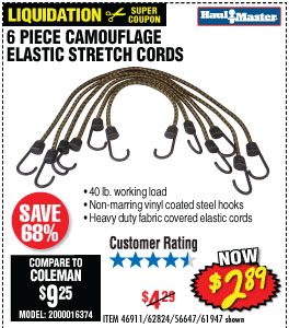 6 Pc Camouflage Elastic Stretch Cords