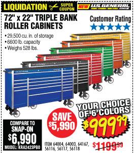 72 in. x 22 In. Triple Bank Roller Cabinet