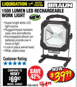 1500 Lumen LED Rechargeable Work Light