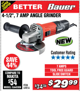4-1/2 in.  7 Amp Small Angle Grinder with Tool-Free Guard
