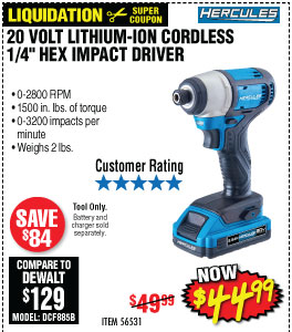 20V Lithium Cordless  1/4 in. Hex Compact Impact Driver - Tool Only
