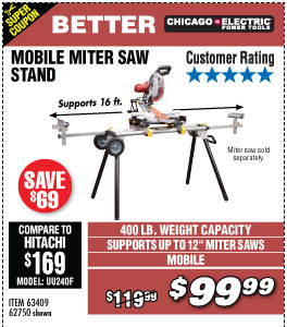 Heavy Duty Mobile Miter Saw Stand