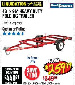1195 lbs. Capacity 48 in. x 96 in. Heavy Duty Folding Trailer