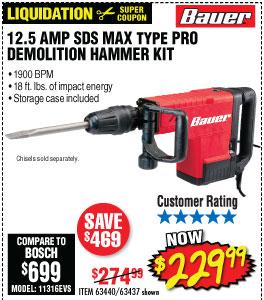 12.5 Amp SDS Max Type Pro Demolition Hammer Kit