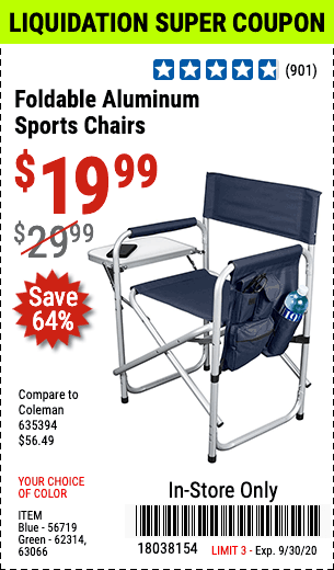 Foldable Aluminum Sports Chair - Blue