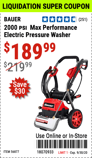 2000 PSI  Max Performance Electric Pressure Washer