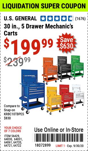 30 in. 5 Drawer Blue Mechanic's Cart