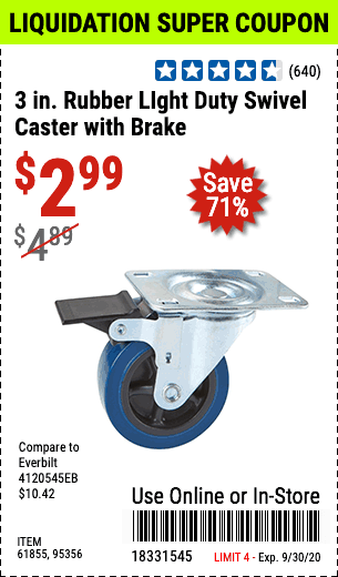 3 in. Rubber LIght Duty Swivel Caster with Brake