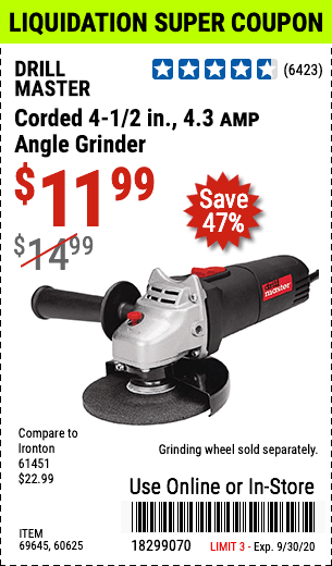 Corded 4-1/2 in. 4.3 Amp Angle Grinder