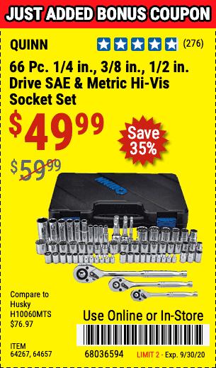66 Pc 1/4 in., 3/8 in., 1/2 in. Drive SAE & Metric Hi-Vis Socket Set