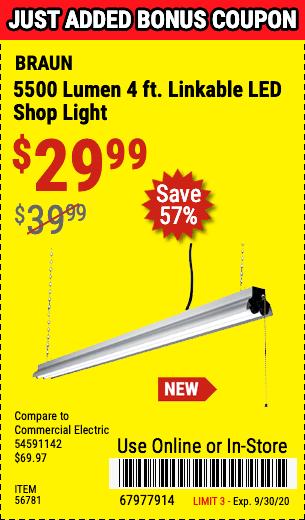 5500 Lumen 4 Ft. Linkable LED Shop Light