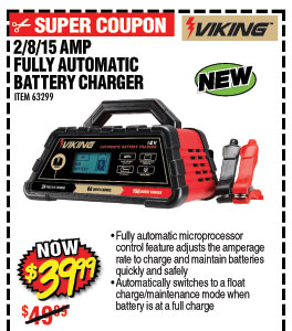 2/8/15 Amp 6/12V Fully Automatic Microprocessor Controlled Battery Charger