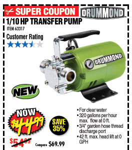 1/10 HP Transfer Pump