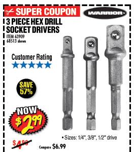 Hex Drill Socket Driver Set 3 Pc