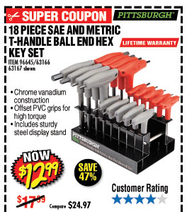 18 Pc SAE & Metric T-Handle Ball End Hex Key Set