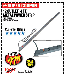 12 Outlet 4 ft. Metal Power Strip