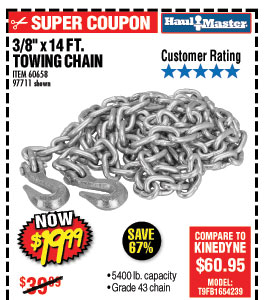 13/8 in. x 14 ft. Grade 43 Towing Chain