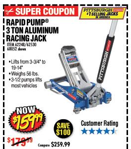3 Ton Aluminum Racing Floor Jack with RapidPump®