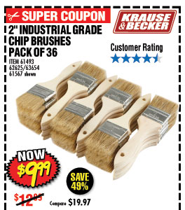 36 Piece 2 in. Industrial Grade Chip Brushes
