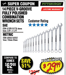 14 Pc SAE V-Groove Combination Wrench Set