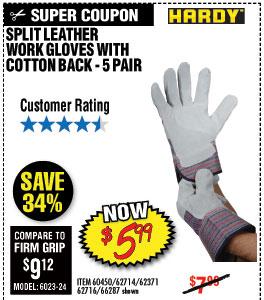 Split Leather Work Gloves with Cotton Back 5 Pr.