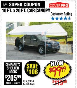 510 ft. x 20 ft. Portable Car Canopy