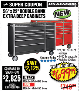 56 in. x 22 In. Double Bank Black Roller Cabinet